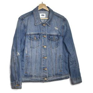 Old Navy Jean Jacket Distressed Light Wash Button